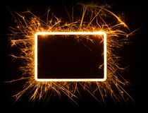 Sparkly glowing empty rounded corner rectangle frame Royalty Free Stock Image
