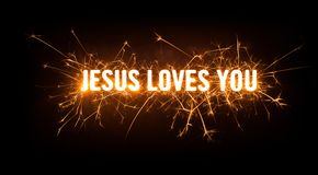 Sparkly glowing title card for Jesus Loves You. Design of sparkly glowing title card for Jesus Loves You on dark background Stock Images