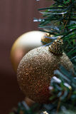 Sparkly gold Christmas baubles on tree. Close up, macro of sparkly Christmas decorations on tree Stock Photos