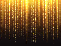Sparkly gold glitter effect with falling down luminous particles vector background Royalty Free Stock Photos