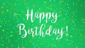 Sparkly grön för hälsningkort för lycklig födelsedag video royaltyfri illustrationer