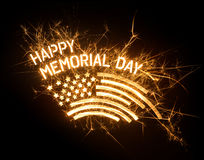 Sparkly HAPPY MEMORIAL DAY title with flag Royalty Free Stock Images