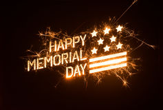 Sparkly HAPPY MEMORIAL DAY title with flag Stock Photos
