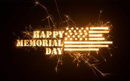 Sparkly LYCKLIG MEMORIAL DAY titel med flaggan royaltyfri fotografi