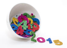 2015 sparkly numbers. Number upcoming year, composed of set of shiny colored figures stock image