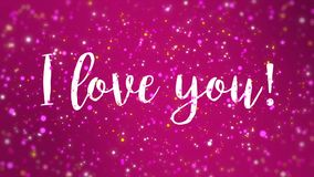 Sparkly pink I love you Valentine card. Romantic sparkly pink Valentines Day animated greeting card with I love you handwritten text stock footage