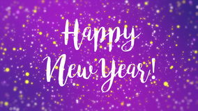 sparkly purple happy new year greeting card video vector illustration