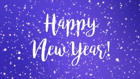 Sparkly purple Happy New Year greeting card video. Animation with handwritten text and flickering glitter particles stock footage