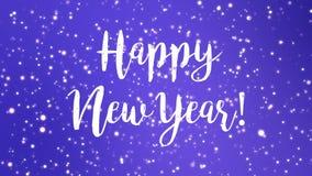 Sparkly purpurfärgad för hälsningkort för lyckligt nytt år video royaltyfri illustrationer