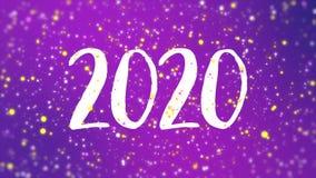 Sparkly purpurfärgad för hälsningkort för lyckligt nytt år video 2020 vektor illustrationer
