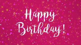 Sparkly rosa för hälsningkort för lycklig födelsedag video royaltyfri illustrationer