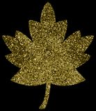 Gold glitter leaf. Sparkly, shiny and metallic gold glitter maple leaf illustration design royalty free stock image