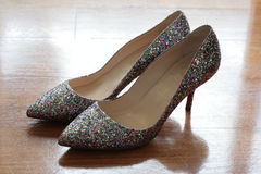 Sparkly shoes royalty free stock photography