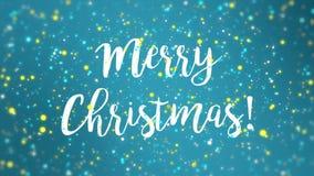 Sparkly video för kort för hälsning för glad jul för blåttguling stock illustrationer