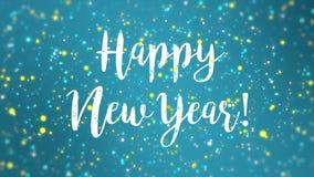 Sparkly video för kort för hälsning för lyckligt nytt år för blåttguling royaltyfri illustrationer