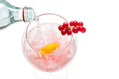 Sparkly water being poured into Gin hard liquor drink with goose Royalty Free Stock Photos