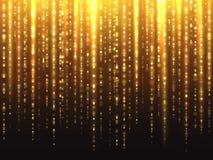 Sparkly złocisty błyskotliwość skutek z spada puszek cząsteczek wektoru świecącym tłem ilustracja wektor