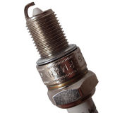 Sparkplug closeup. Closeup of a sparkplug on a white background Stock Images