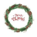 Sparkroon met kegels, bessen en vrolijke Kerstmis royalty-vrije illustratie