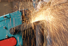 Sparks. From a sandpaper machine Stock Image