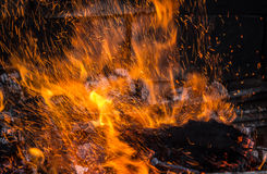 Sparks. Fire sparks on a fireplace Royalty Free Stock Images