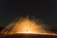 Sparks against night skies Royalty Free Stock Images