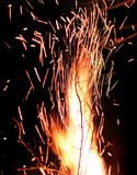 Sparks on a black background. Sparks of fire royalty free stock photos