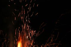 Sparks on a black background. Sparks of fire. Fire. stock photo