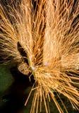 Sparks close-up Machine Spot nut Royalty Free Stock Photos