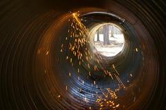 Sparks in culvert Stock Photo