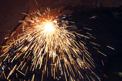 Sparks during cutting of metal Royalty Free Stock Photo