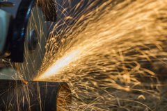 Sparks from cutting metal Stock Images