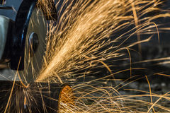 Sparks from cutting metal Stock Image