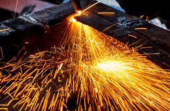 Sparks while cutting steel Stock Photo