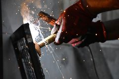 Sparks from digging the gates in my garden royalty free stock photos