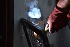 Sparks from digging the gates in my garden stock photo