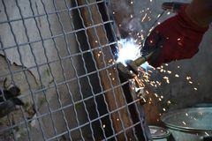 Sparks from digging the gates in my garden royalty free stock photo