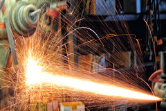 Sparks of Fire. Arising in the process of metal cutting Royalty Free Stock Photos