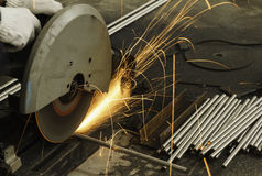 Sparks fire while cutting steel Stock Images