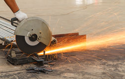 Sparks fire while cutting steel Royalty Free Stock Photography