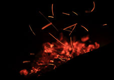Sparks fire. Figures from sparks fire in the dark night Stock Photos