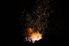 Sparks from the fire in the forge Royalty Free Stock Photo