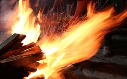Fire and sparks stock photography