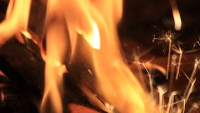 Sparks in a fireplace at home - energy stock video footage