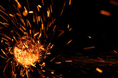 Sparks flare cutting iron Stock Image