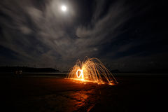Sparks flying in the moonlight Royalty Free Stock Photography