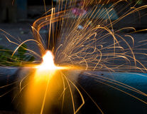Sparks of the fused metal Stock Photos