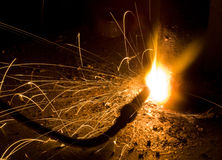 Sparks of the fused metal Royalty Free Stock Image