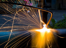 Sparks of the fused metal Stock Photo