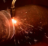 Sparks during the gas cutting Royalty Free Stock Photography